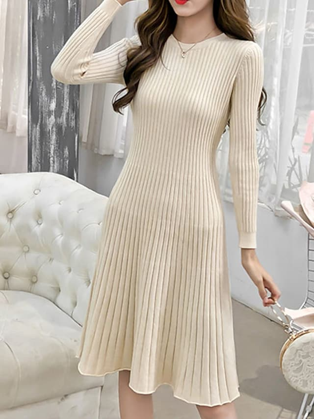 Women's A Line Dress Knee Length Dress Blue Black Brown Beige Long Sleeve Solid Color Ruched Fall Round Neck Work Casual 2021 S M L XL