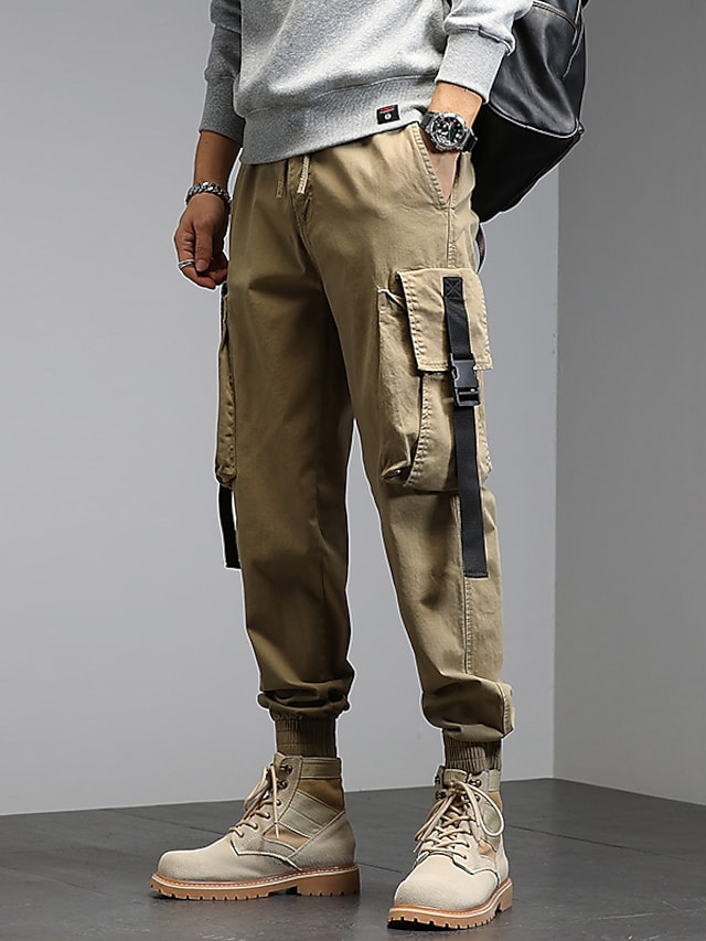 Men's Stylish Cargo Cycling Moisture Wicking Breathable Soft Chinos Tactical Cargo Daily Going out Pants Solid Color Full Length Leg Drawstring Elastic Waist Multiple Pockets ArmyGreen Grey Khaki
