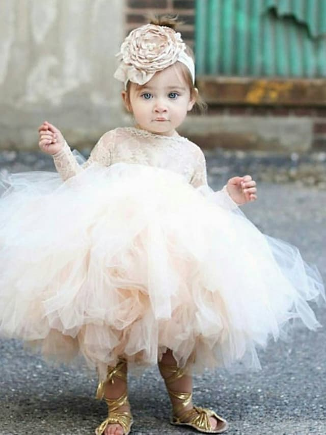 Princess Ankle Length Flower Girl Dresses Party Tulle Long Sleeve Jewel Neck with Lace