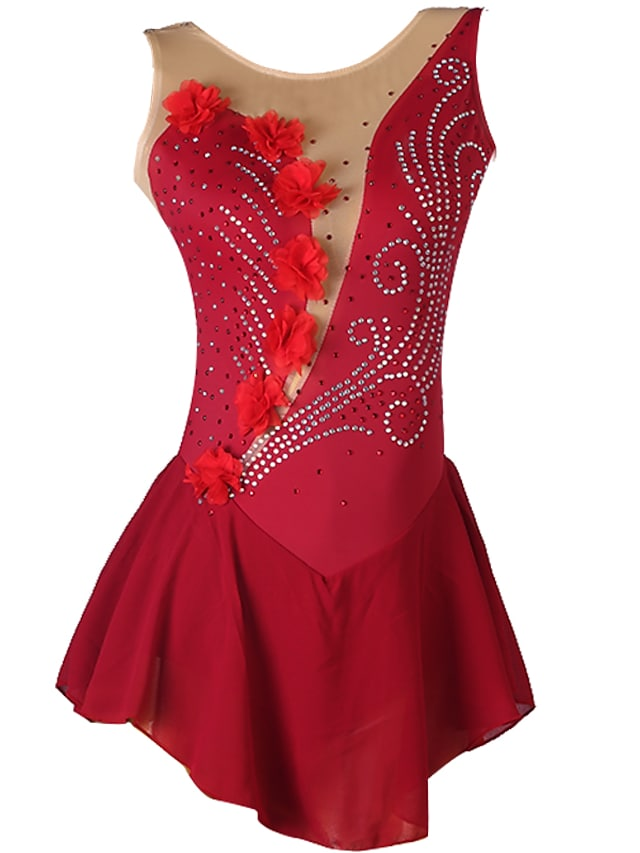 Figure Skating Dress Women's Girls' Ice Skating Dress Burgundy Open Back Patchwork High Elasticity Training Competition Skating Wear Classic Sleeveless Ice Skating Figure Skating