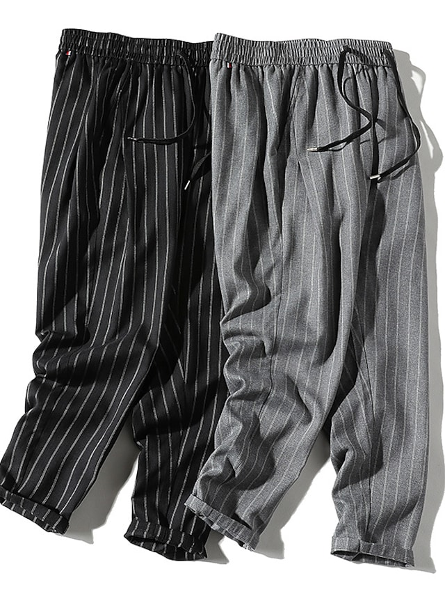 Men's Stylish Casual Streetwear Comfort Outdoor Chinos Sweatpants Casual Daily Pants Lines / Waves Full Length Stripe Pocket Grey Black