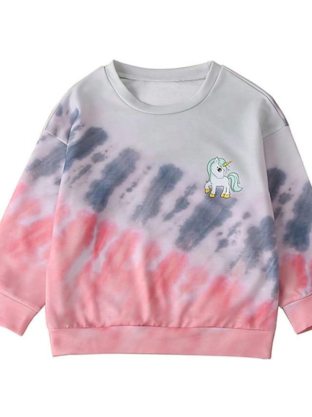 Kids Girls' Sweatshirt Long Sleeve Blushing Pink Tie Dye Daily Indoor Outdoor Fashion Streetwear Daily Sports 2-8 Years