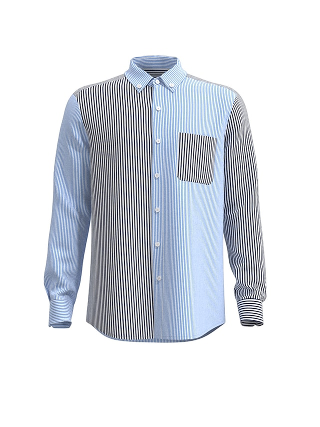 Men's Shirt non-printing Striped Button-Down Long Sleeve Casual Tops 100% Cotton Casual Blue
