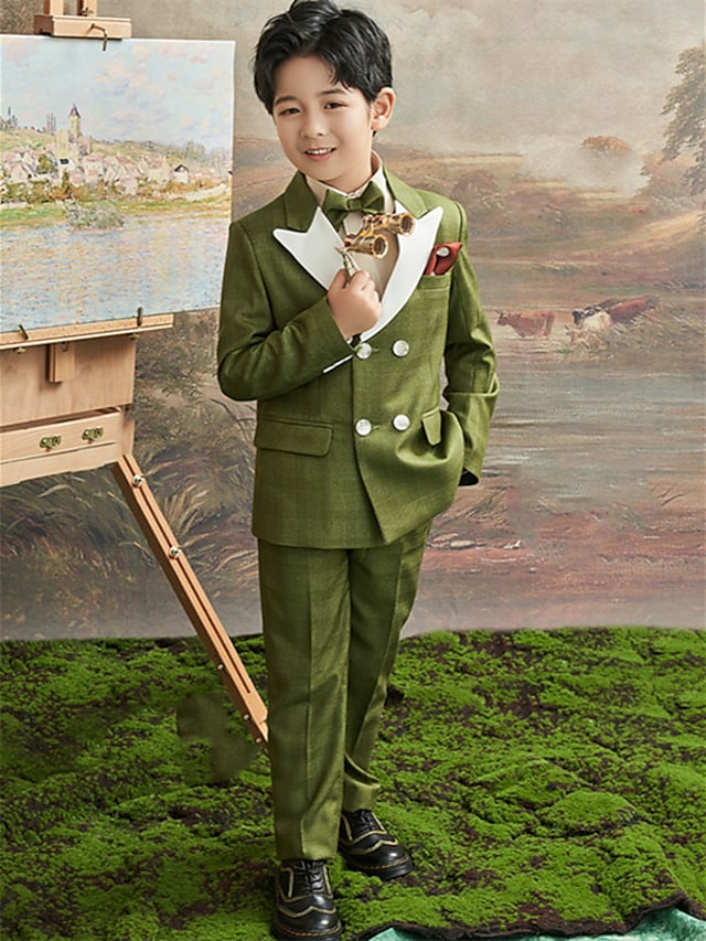 Green Ring Bearer Suit Three-piece Suit Party Rayon Coat