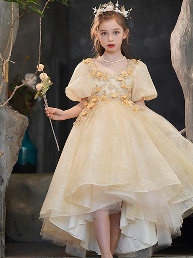 Princess Asymmetrical Flower Girl Dresses Party Tulle Short Sleeve Scoop Neck with Beading