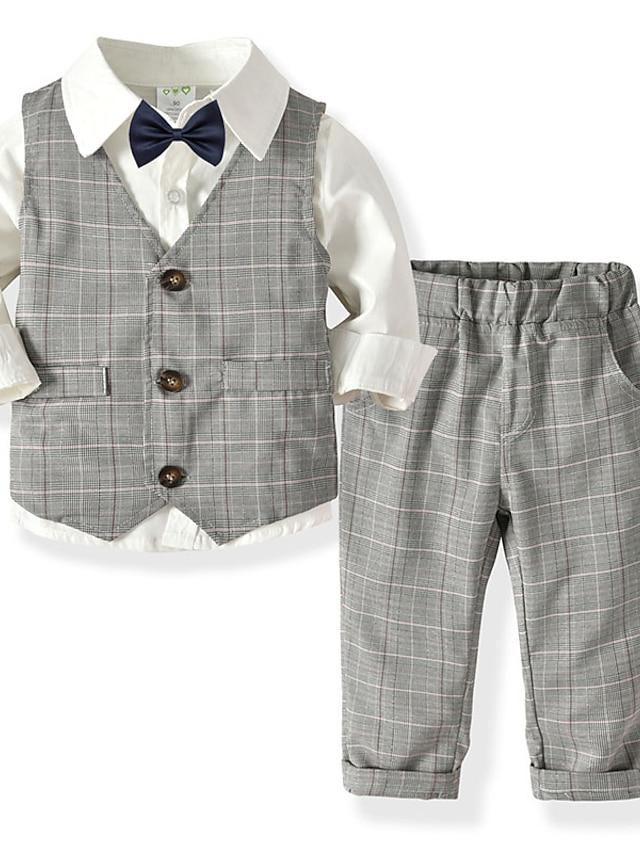 Toddler Boys' Shirt & Pants Clothing Set 4 Pieces Long Sleeve Blue Blushing Pink Gray Plaid Print Street Casual Gentle 2-6 Years