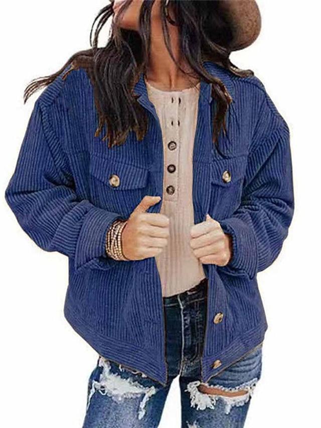 Women's Jacket Street Daily Going out Fall Winter Regular Coat Regular Fit Warm Casual Streetwear Jacket Long Sleeve Plain Pocket Lake blue Purple Blushing Pink