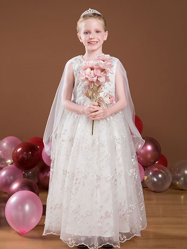 Princess Floor Length Flower Girl Dresses Party Tulle Sleeveless Jewel Neck with Appliques