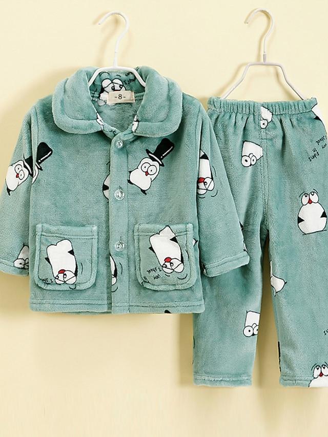 Kids Toddler Boys' Pajamas 2 Pieces Long Sleeve Green Animal Pocket Adorable Regular 3-10 Years