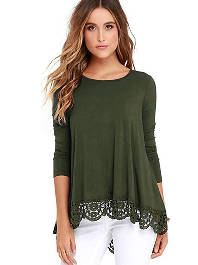 Women's T shirt Plain Lace Trims Round Neck Basic Tops Wine Army Green White