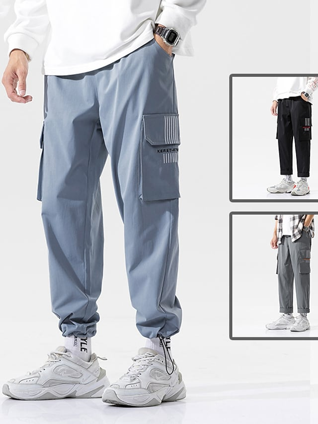 Men's Sports & Outdoors Streetwear Outdoor Sports Jogger Tactical Cargo Casual Daily Pants Solid Color Full Length Multiple Pockets Blue Black Dark Gray