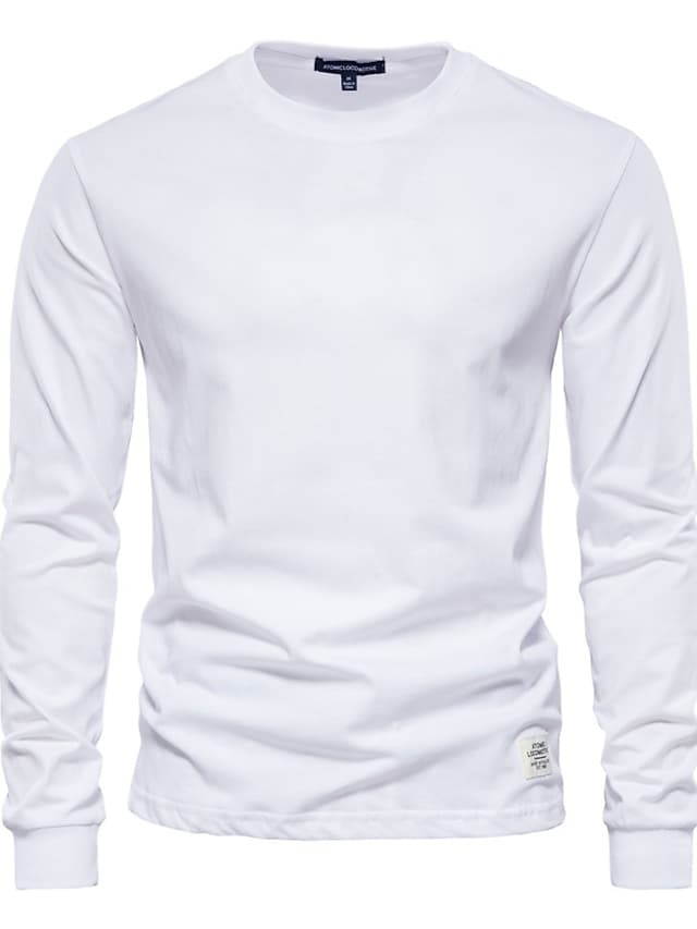 Men's T shirt Solid Color Long Sleeve Casual Tops Lightweight Fashion Big and Tall Blue Purple Yellow