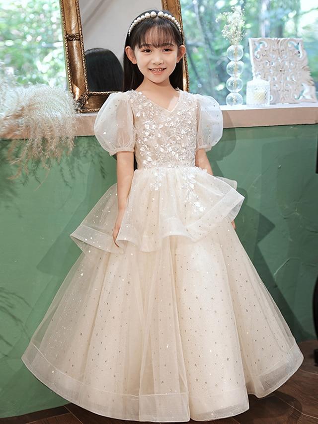 Princess Floor Length Flower Girl Dresses Party Tulle Half Sleeve V Neck with Beading
