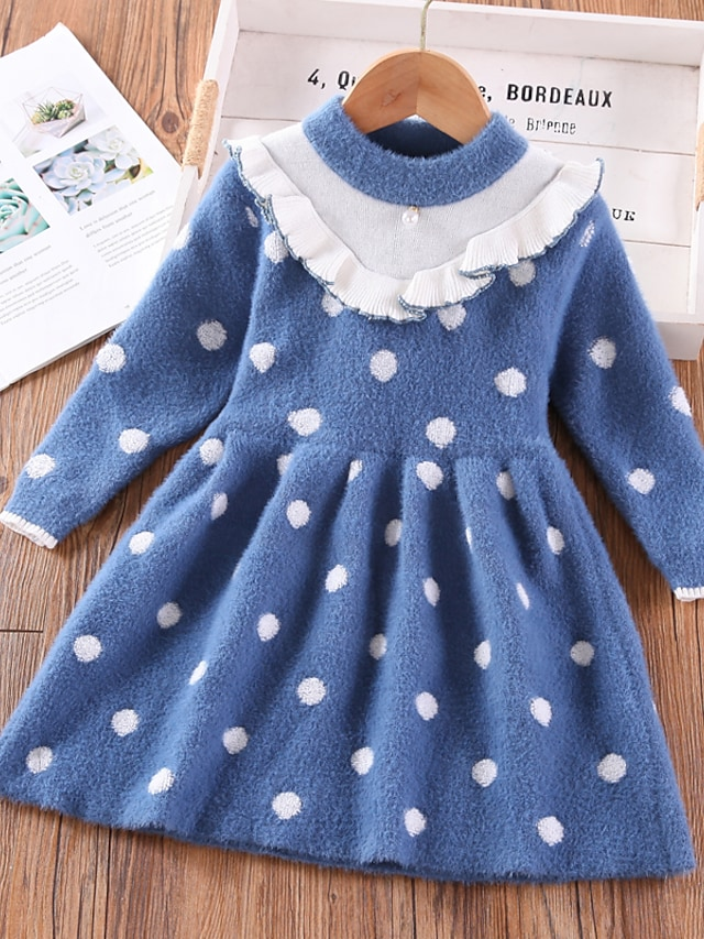 Kids Toddler Little Girls' Dress Polka Dot Sweater Jumper Dress Daily Vacation Blue Knee-length Long Sleeve Casual Cute Dresses Fall Spring Loose 2-6 Years