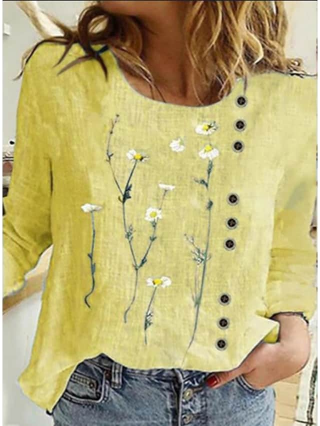 Women's Floral Theme Painting T shirt Floral Graphic Print Round Neck Basic Tops Blue Yellow Blushing Pink / 3D Print