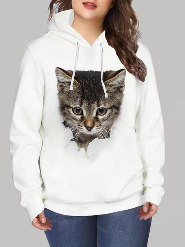 Women's Plus Size Tops Hoodie Sweatshirt Cat Graphic Print Long Sleeve V Neck Streetwear Daily Going out Spandex Winter White / 3D Print