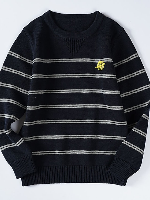 Kids Boys' Sweater Long Sleeve Gray Black Stripe Embroidered Indoor Outdoor Cool Daily 3-12 Years