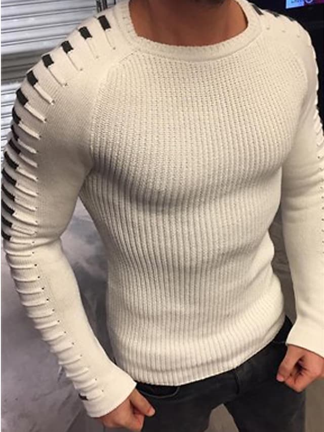 Men's Pullover Sweater Knitted Solid Color Stylish Long Sleeve Sweater Cardigans Crew Neck Fall Winter Green White Black