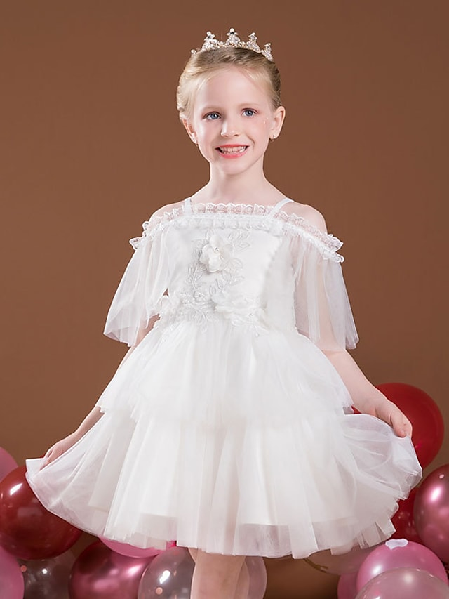 Princess Short / Mini Flower Girl Dresses Party Tulle Raglansleeve Off Shoulder with Lace