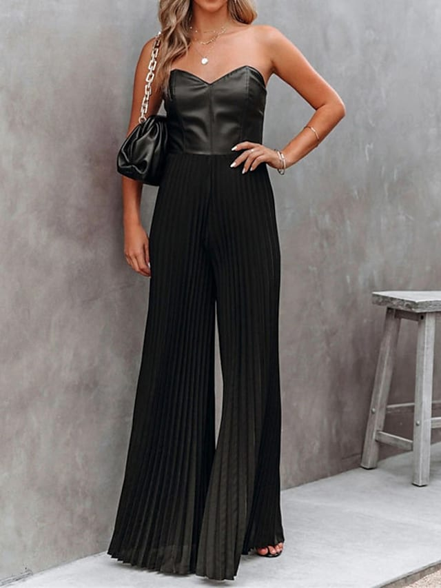 Women's Casual Daily Streetwear Party Going out Casual / Daily Off Shoulder Black Jumpsuit Solid Colored Backless