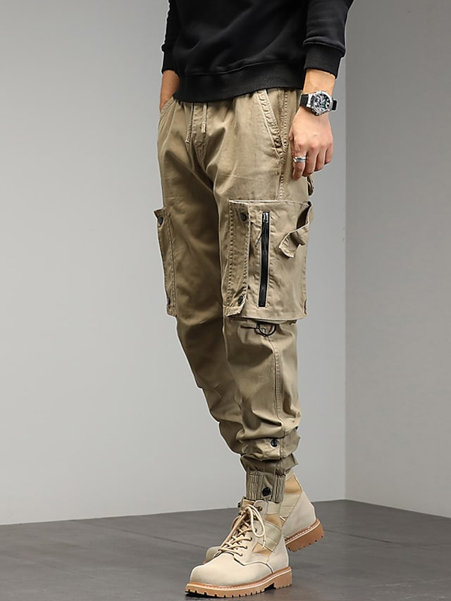 Men's Stylish Cargo Cycling Moisture Wicking Breathable Soft Chinos Tactical Cargo Pants Solid Color Full Length Drawstring Elastic Waist Multiple Pockets Elastic Drawstring Design ArmyGreen Grey