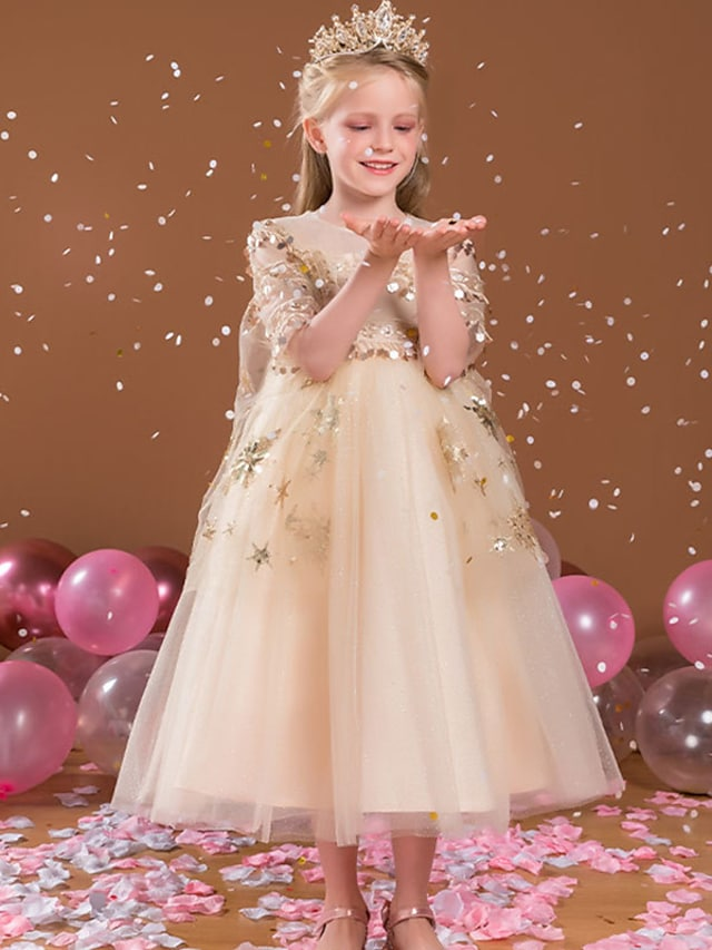 Princess Ankle Length Flower Girl Dresses Party Satin Half Sleeve Jewel Neck with Beading