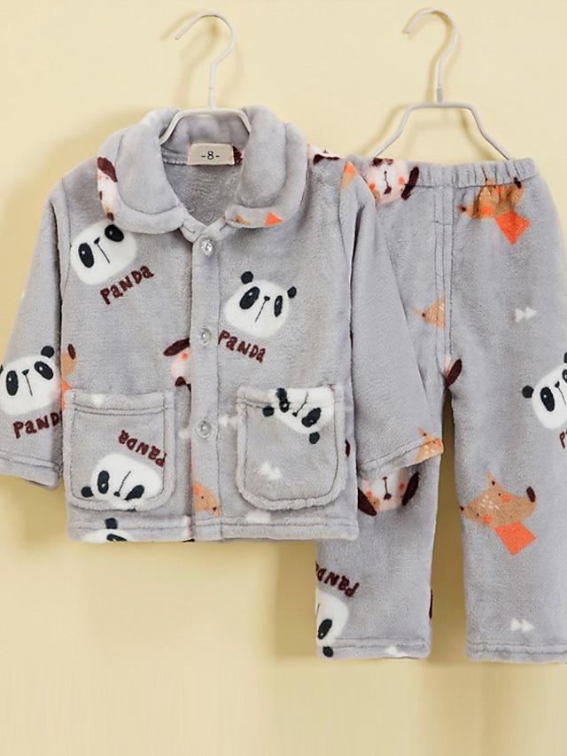 Kids Toddler Boys' Pajamas 2 Pieces Long Sleeve Gray Animal Pocket Adorable Regular 2-12 Years