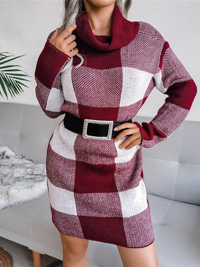 Women's Sheath Dress Short Mini Dress Blue Wine Gray Khaki Long Sleeve Plaid Color Block Patchwork Fall Winter Turtleneck Work Casual 2021 S M L