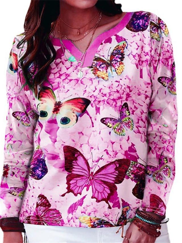 Women's Plus Size Tops Blouse Shirt Butterfly Animal Print Long Sleeve V Neck Streetwear Daily Weekend Polyster Fall Blue Fuchsia