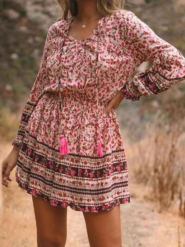 Women's A Line Dress Short Mini Dress Blushing Pink Fuchsia Long Sleeve Floral Print Fall V Neck Casual Lantern Sleeve 2021 S M L XL XXL