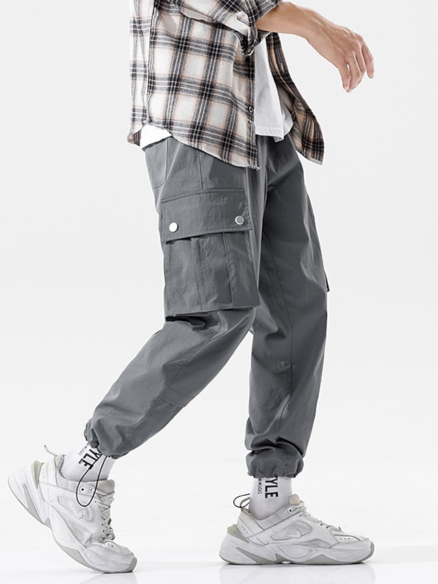 Men's Sports & Outdoors Streetwear Outdoor Sports Jogger Tactical Cargo Casual Daily Pants Solid Color Full Length Multiple Pockets Light gray Black Dark Gray