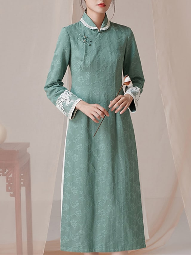 Sheath / Column Mother of the Bride Dress Elegant Vintage Shirt Collar Tea Length Lace Long Sleeve with Split Front Color Block 2021