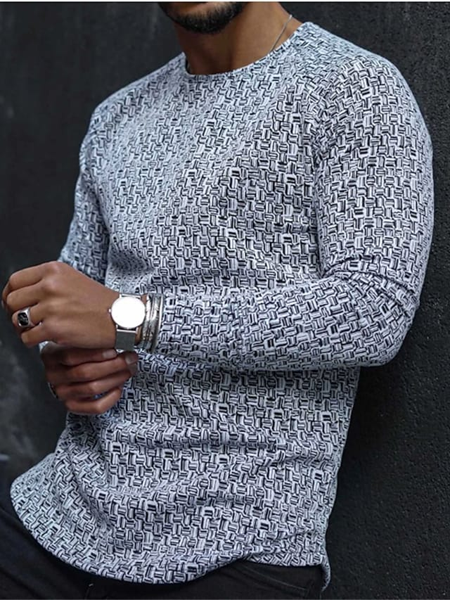 Men's T shirt Graphic Abstract Long Sleeve Casual Tops Lightweight Fashion Big and Tall Gray