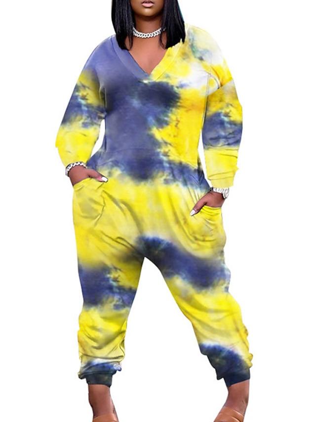 Women's Casual Streetwear Street Daily Wear Wide Leg Blue Yellow Jumpsuit Tie Dye Print