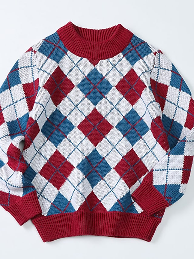 Kids Boys' Sweater Long Sleeve Blue Yellow Black Geometric Patchwork Indoor Outdoor Cool Daily 3-10 Years