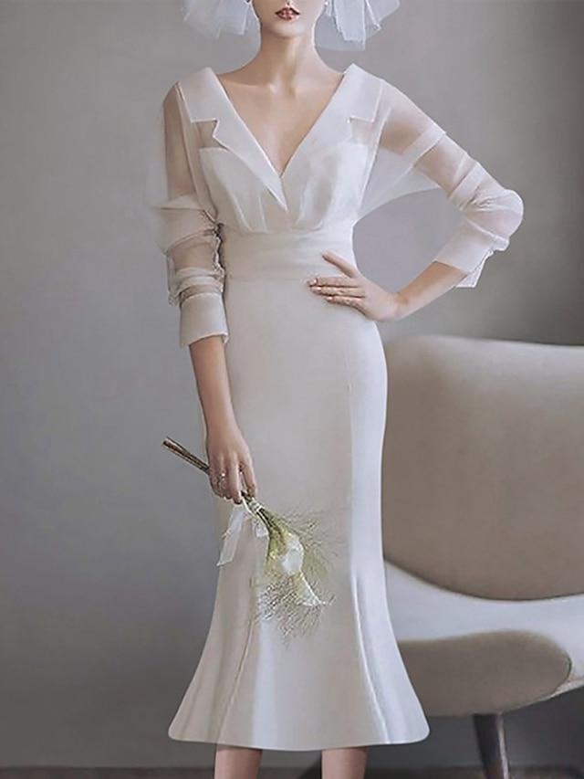 Mermaid / Trumpet Wedding Dresses V Neck Tea Length Satin Tulle Long Sleeve Simple Vintage Little White Dress 1950s with Pleats 2021