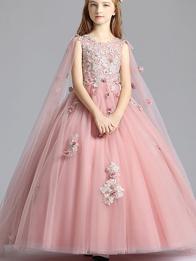 Princess Floor Length Flower Girl Dresses Party Tulle Sleeveless Jewel Neck with Beading