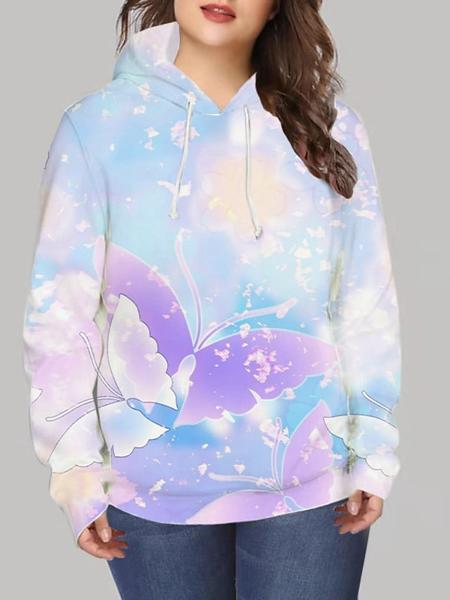 Women's Plus Size Tops Hoodie Sweatshirt Graphic Print Long Sleeve V Neck Streetwear Daily Going out Spandex Winter Blue / 3D Print
