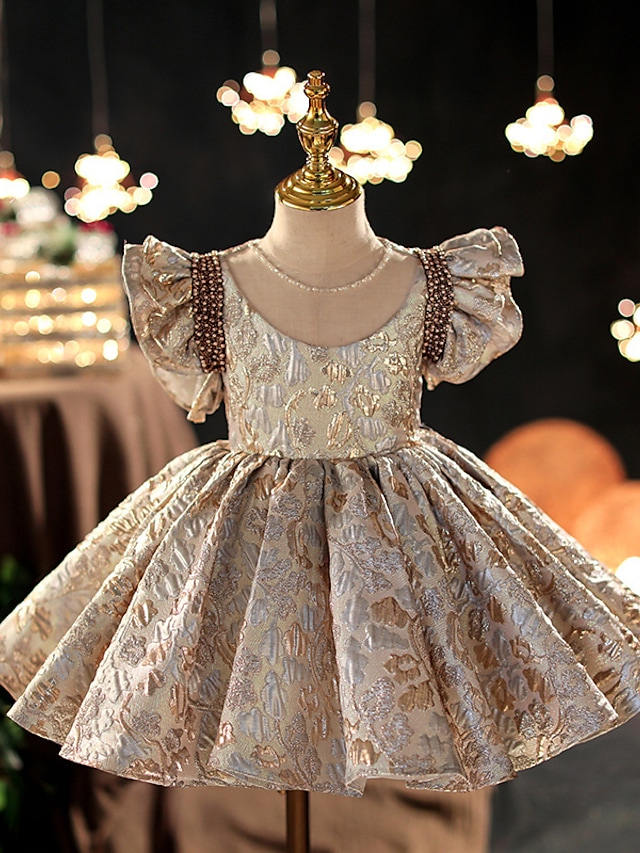 Princess Knee Length Flower Girl Dresses Party Rayon Short Sleeve Scoop Neck with Beading