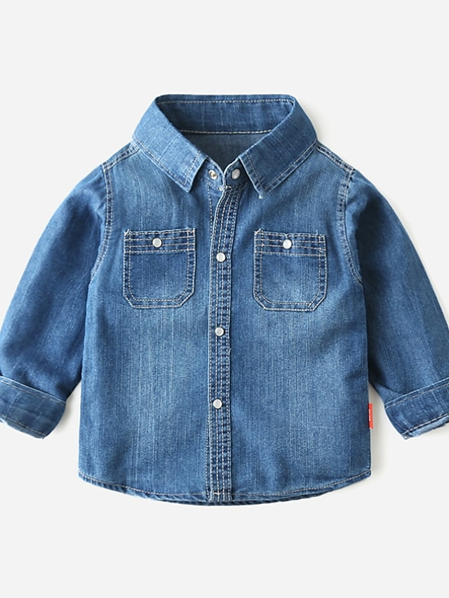 Kids Boys' Shirt Long Sleeve Blue Solid Color Pocket Daily Outdoor Basic Cool 4-12 Years