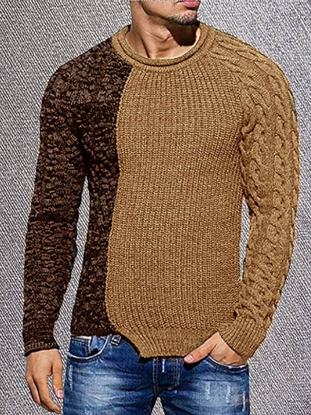 Men's Unisex Pullover Knitted Color Block Stylish Vintage Style Long Sleeve Sweater Cardigans Crew Neck Fall Winter Blue Gray Khaki