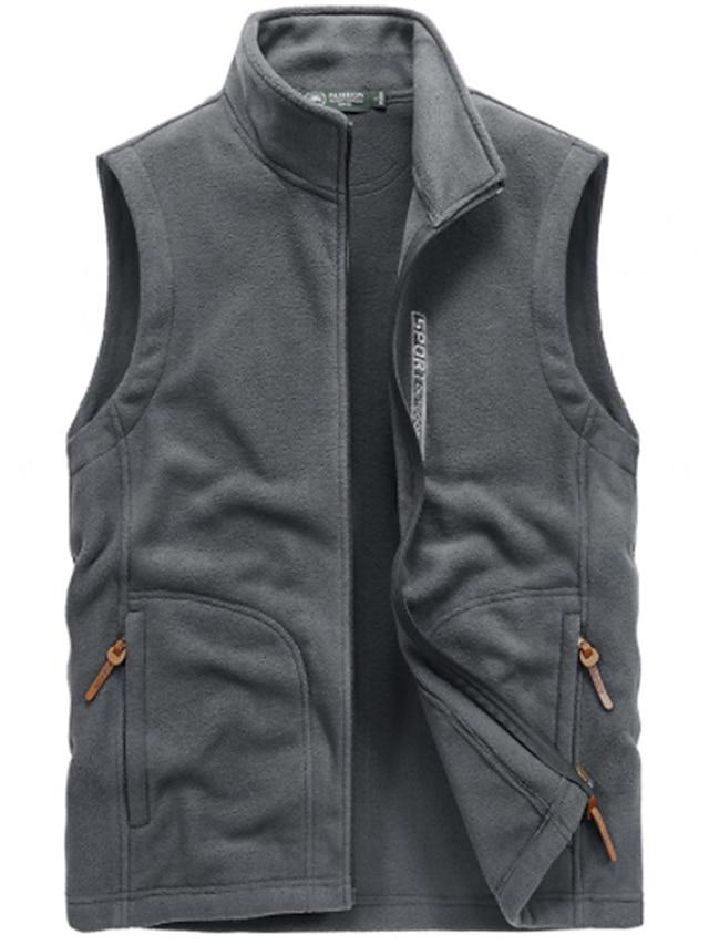 Men's Vest Teddy Coat Polar Fleece Going out Outdoor Fall Winter Regular Coat Regular Fit Windproof Warm Casual Streetwear Jacket Sleeveless Solid Color Quilted Pocket Blue Gray Black