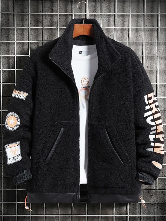 Men's Polar Fleece Street Daily Going out Fall Winter Regular Coat Regular Fit Warm Breathable Sporty Casual Streetwear Jacket Long Sleeve Letter Pocket Gray Black