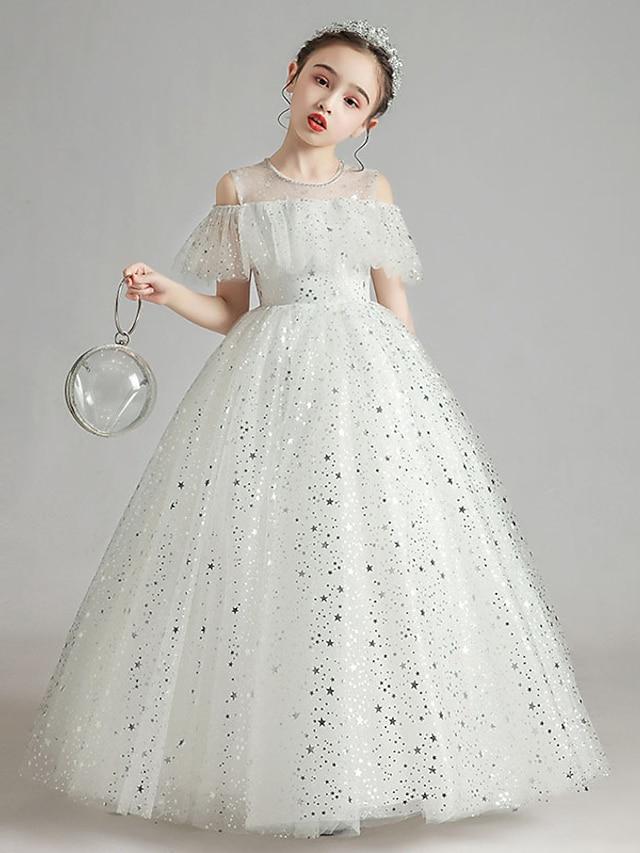Princess Floor Length Flower Girl Dresses Party Tulle Raglansleeve Jewel Neck with Paillette