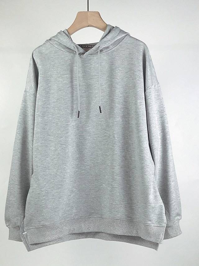 Women's Plus Size Tops Hoodie Sweatshirt Solid Color Long Sleeve Cowl Neck Basic Hoodie Causal Daily Cotton Winter Autumn pale pinkish gray Yellow