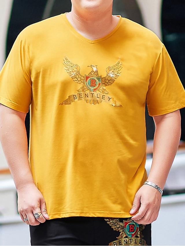 Men's T shirt Animal Stylish Short Sleeve Daily Tops Ordinary Yellow Black