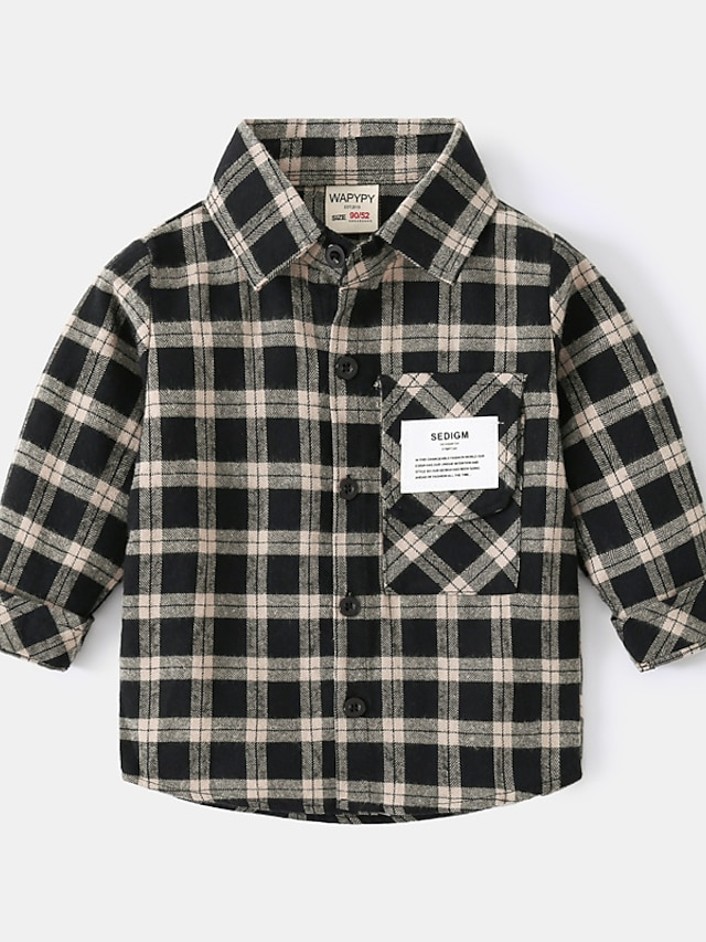 Toddler Boys' Shirt Long Sleeve Khaki Plaid Pocket Patchwork Indoor Outdoor Adorable Daily 1-5 Years