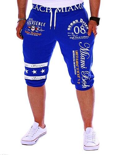 Муж. Активный Классический Свободный силуэт Штаны Шорты Спорт выходные Брюки Буквы Кулиска С принтом Синий Серый Белый Черный