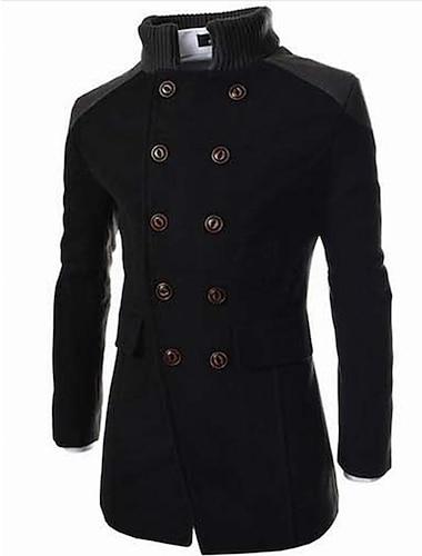 رجالي ترانش كوت معطف مناسب للبس اليومي عمل الخريف الشتاء طويلة معطف مرتفعة جاكتس كم طويل ألوان متناوبة رمادي أسود أزرق البحرية / صدر مزدوج / قطن