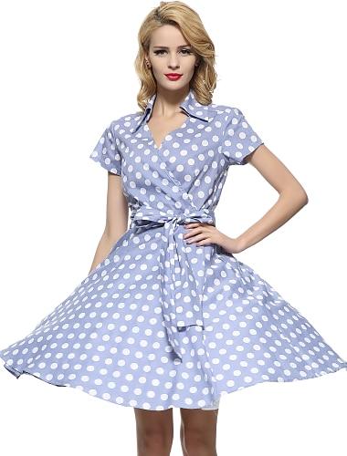 여성용 스윙 드레스 무릎 길이 드레스 레드 퓨샤 화이트 블랙 밝은 블루 짧은 소매 레드 도트무늬 프린트 셔츠 카라 빈티지 작동 S M L XL XXL 3XL / 면 / 플러스 사이즈 / 플러스 사이즈 / 면